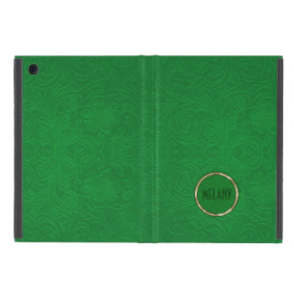 Monogramed Green Suede Leather Look Floral Design Case For iPad Mini