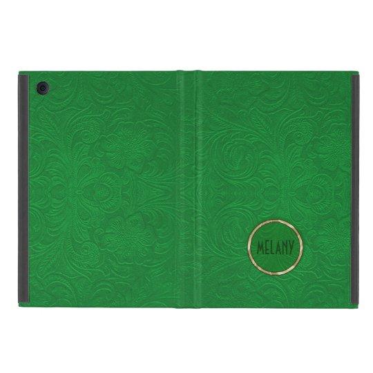 Monogramed Green Suede Leather Look Floral Design Case