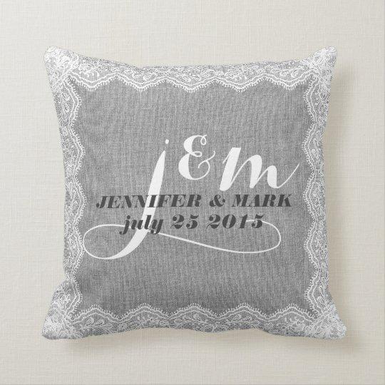 Monogramed Grey Linen & White Lace Wedding Pillow