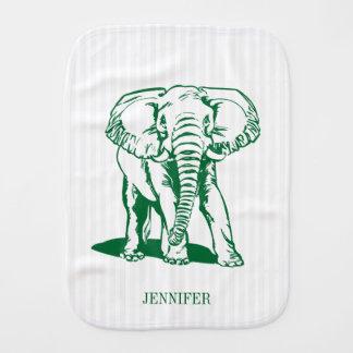 Monogramed Hunter Green Elephant Line Drawing Baby Burp Cloths
