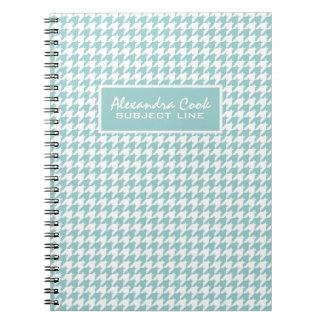 Monogramed Light Blue & White Houndstooth Pattern Notebook