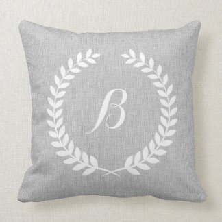 Monogramed Light Gray Linen & White Floral Wreath Cushion