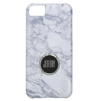 Monogramed Light Gray  Marble Stone Pattern iPhone 5C Case