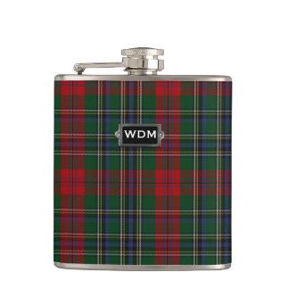 Monogramed MacLean Tartan Plaid Flask