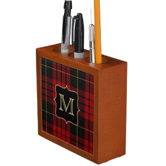 Monogramed MacQueen Plaid Desk Organizer