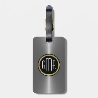 Monogramed Metallic Silver Stainless Steel Look 2 Luggage Tag