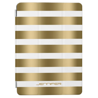 Monogramed Modern Gold Stripes White Background iPad Air Cover