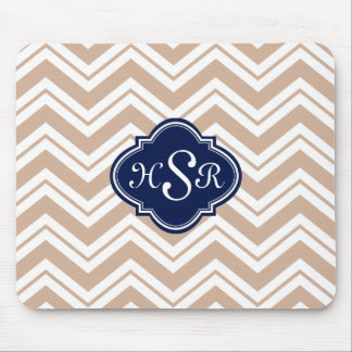 Monogramed Modern Tan And White Zigzag Chevron Mouse Pad