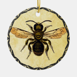 Monogramed Ornament With Vintage Bee