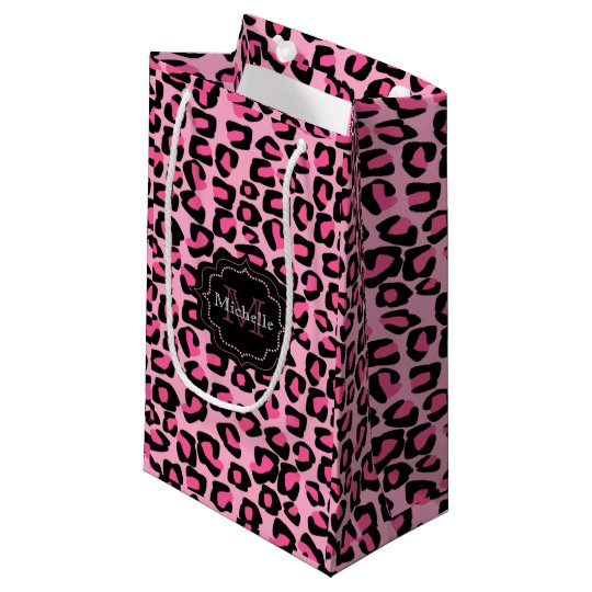 Monogramed pink leopard spots small gift bag