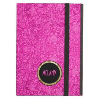 Monogramed Pink Suede Leather Look Floral Design iPad Air Cover
