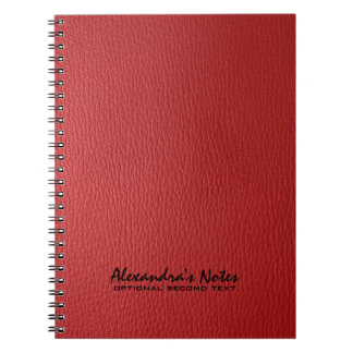 Monogramed Red Leather Texture Look Spiral Note Book