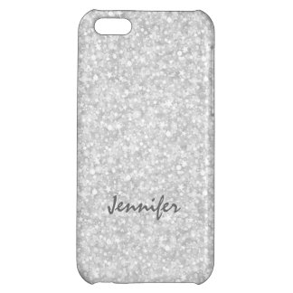 Monogramed Silver Gray Glitter & Sparkles iPhone 5C Cover