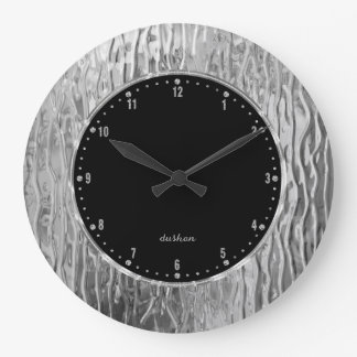 Monogramed Silver Gray Tones Melting Stained Glass Clocks