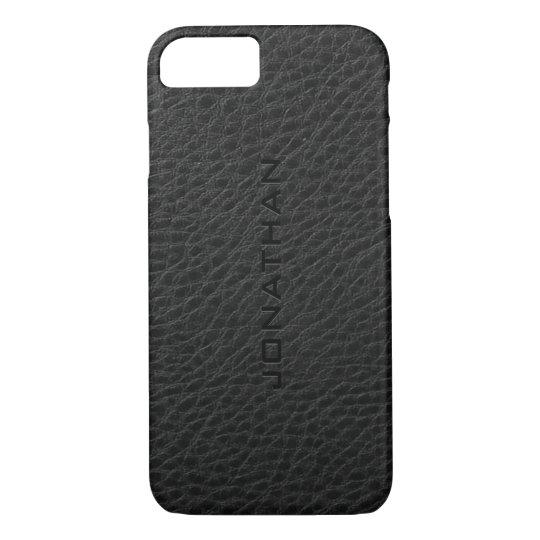 Monogramed Vintage Black Leather iPhone 7 Case