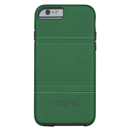Monogramed Vintage Dark Green Faux Leather Tough iPhone