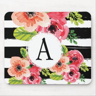 Monogramed Watercolor Floral & Black White Stripes Mouse Mat