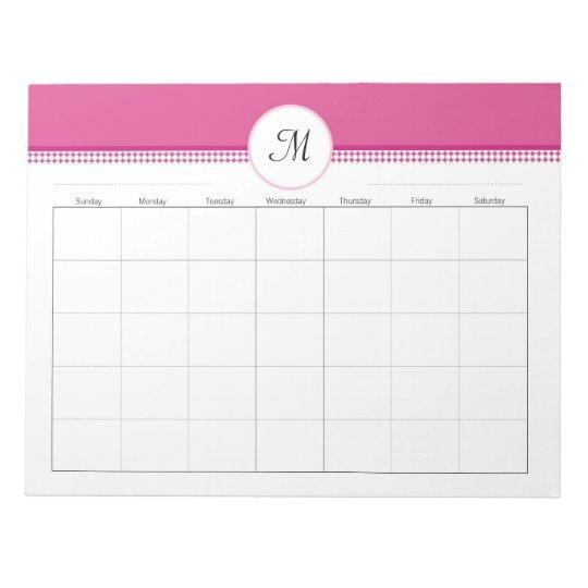 Monogramed Weekly Planner 40 pg 11 x 8.5