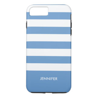 Monogramed White Stripes Sky Blue Background iPhone 7 Plus Case