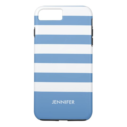 Monogramed White Stripes Sky Blue Background iPhone 8
