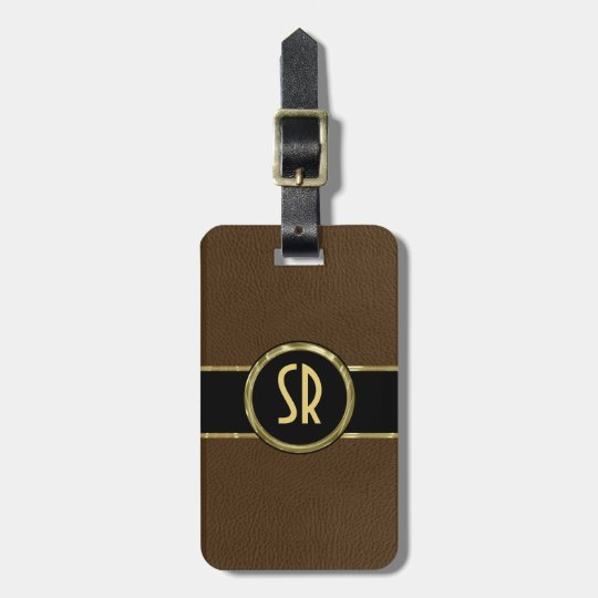 Monogramed Worn-out Brown Leather Look 2 Luggage Tag