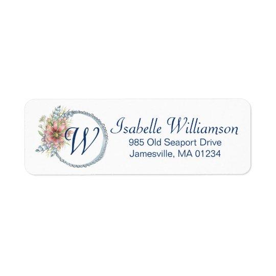 Monogramm Blue Floral Wreath Return Address Label