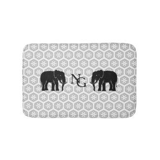 Monogramm Pair of Majestic Black Elephants Bath Mat