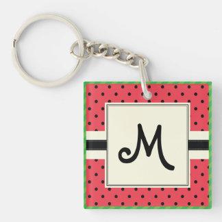Monogramm watermelon pattern design summer fruit key ring