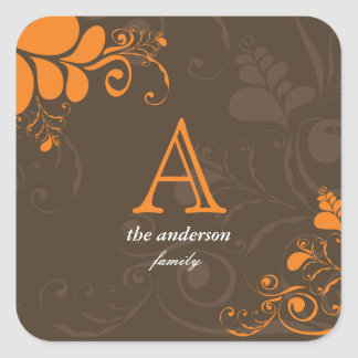 Monogramme Art Deco Swirls Thanksgiving Sticker