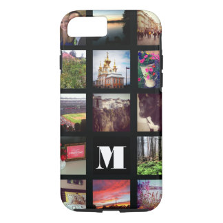 Monogrammed 15 Instagram Photos on Black iPhone 7 Case
