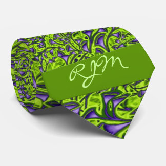 Monogrammed 2-Sided Green and Purple Paisley Tie