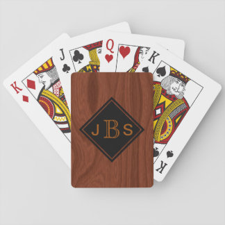 Monogrammed 3 Letters | Mahogany Woodgrain Look Playing Cards