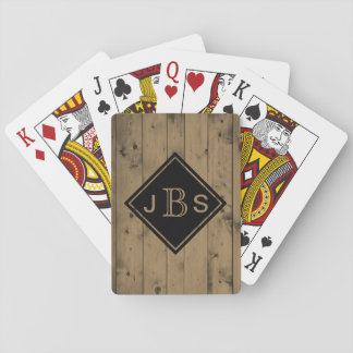 Monogrammed 3 Letters | Rustic Barn Wood Texture Playing Cards