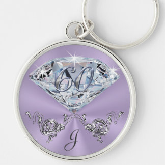Monogrammed 60th Birthday Gift Ideas for Her Key Ring