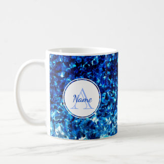 Monogrammed Abstract Blue Paint Strokes Mug