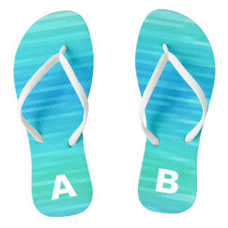 Monogrammed Abstract Teal Turquoise Blue Green Flip Flops