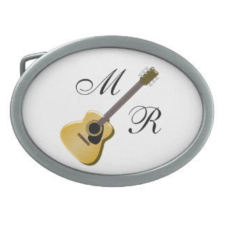 Monogrammed Acoustic Guitar Oval Belt Buckles