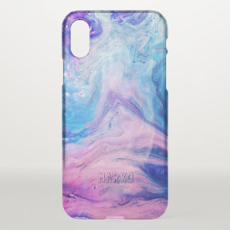 Monogrammed Acrylic Marble Texture Pattern iPhone X Case