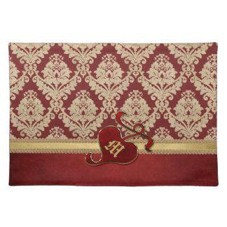 Monogrammed Antique Damask Gold Red Pomegranate Place Mat