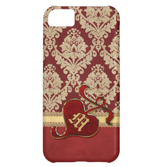 Monogrammed Antique Damask Gold Red Pomegranate iPhone 5C Case