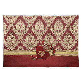 Monogrammed Antique Damask Gold Red Pomegranate Place Mat