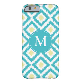 Monogrammed Aqua and Yellow Diamonds Ikat Pattern Barely There iPhone 6 Case