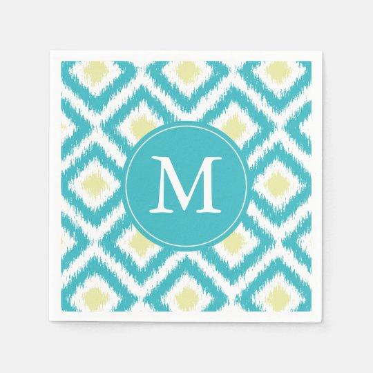 Monogrammed Aqua and Yellow Ikat Pattern Disposable Napkins