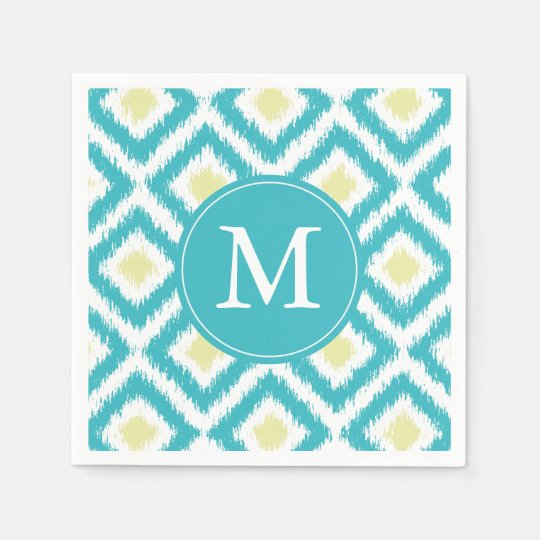 Monogrammed Aqua and Yellow Ikat Pattern Disposable Serviette