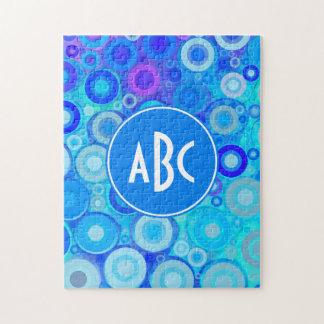 Monogrammed Aqua Blue Rings Mosaic Jigsaw Puzzle