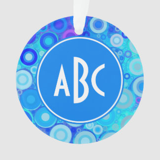 Monogrammed Aqua Blue Rings Mosaic Ornament