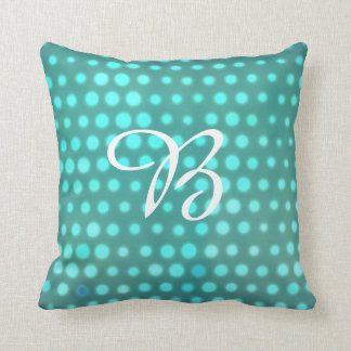 Monogrammed aqua glow blue dots cushion