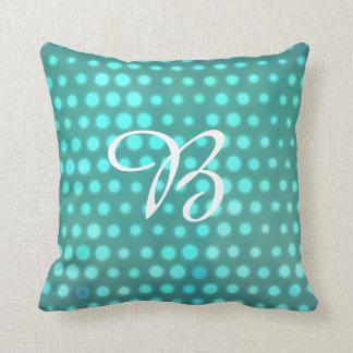 Monogrammed aqua glow blue dots throw pillow