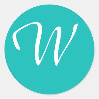 Monogrammed Aqua Round Sticker
