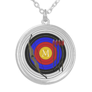 Monogrammed Archery Design Round Pendant Necklace